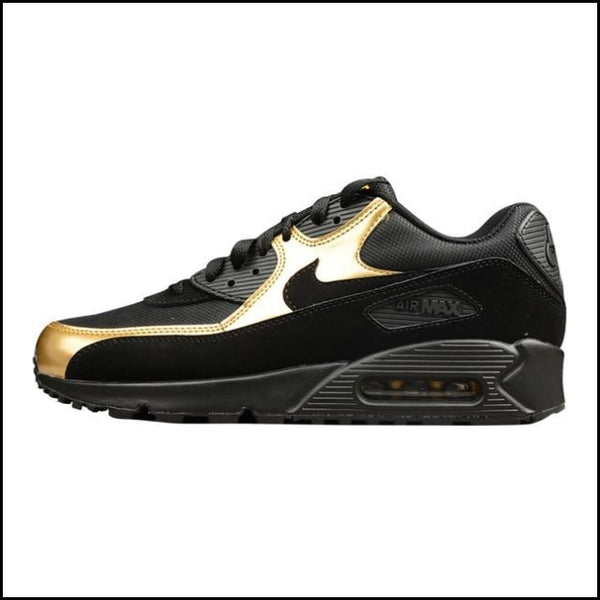 NIKE AIR MAX 90 ESSENTIAL Mens Running Shoes Outdoor Sneakers Shoes Black Gold - 537384 058 / 40.5 - Running Shoes