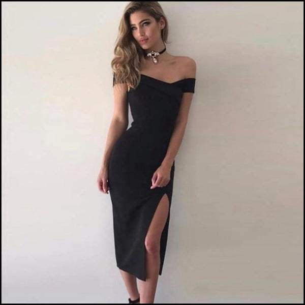 Women Sexy Bodycon Off the Shoulder Bandage Dress - Black / XS - Dresses