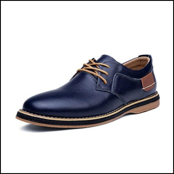 Casual Men Leather Dress Shoes For Business Office - Blue / 38 - Oxfords