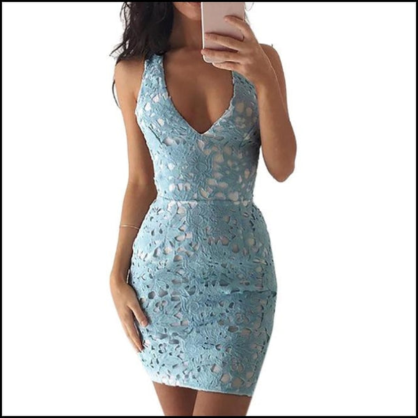 Sexy Sleeveless Backless Lace Short Mini Dresses Bodycon Pencil Dress - Blue / S - Dresses