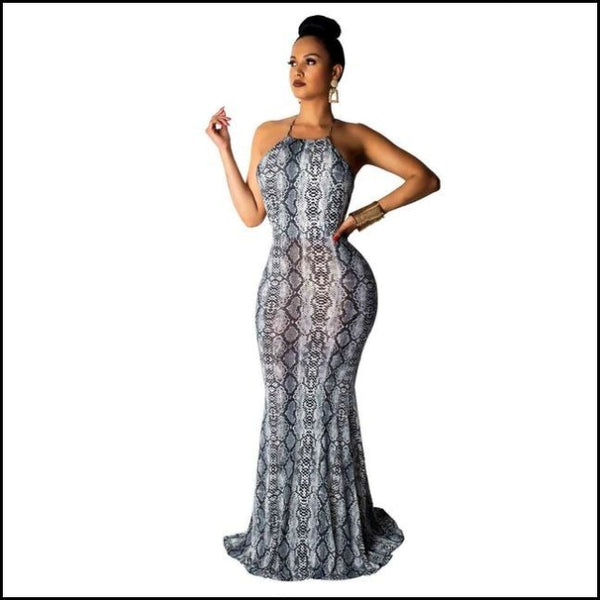 Spaghetti Straps Snake Print Sleevless Backless Casual Maxi Dress - Grey dress / S - Dresses