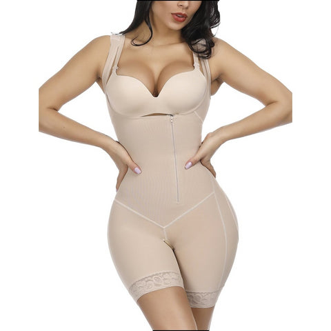 Best Nude Crotchless Zipper Hooks Body Shaper Plus Size Blood Circulation Boosting - Bodysuits