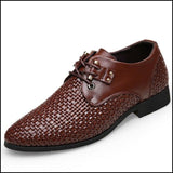 Formal Men Shoes Weaving Breathable Hollow Business Dress Shoes - brown / 38 - Oxfords