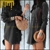 Women Casual Denim Shirt Dress Ladies Long Sleeve Turn Down Collar Office Lady Loose Shirt Dress - Black / S - Dresses