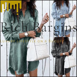 Women Casual Denim Shirt Dress Ladies Long Sleeve Turn Down Collar Office Lady Loose Shirt Dress - Dresses