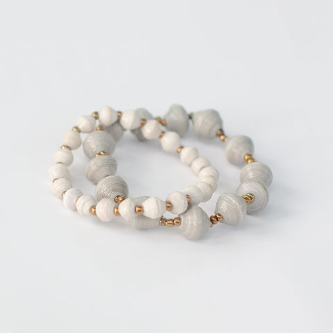 Cream and Light Grey Bracelet Set