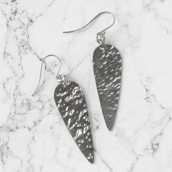Hammered SIlver Spear Earrings