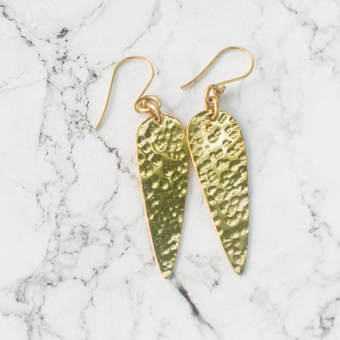 Hammered Brass Spear Earrings