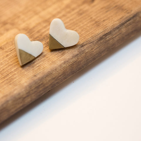 White and Brass Heart Earrings