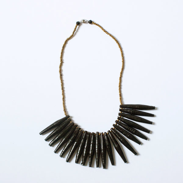 Black Fringe Paper Bead Necklace