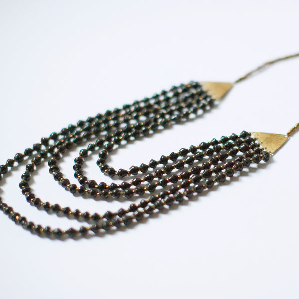 Black Brass and Paper Bead Necklace