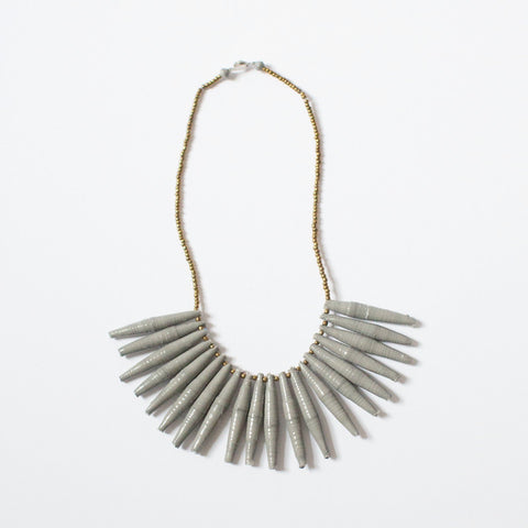 Grey Fringe Paper Bead Necklace