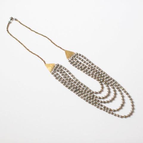 Grey Brass and Paper Bead Necklace