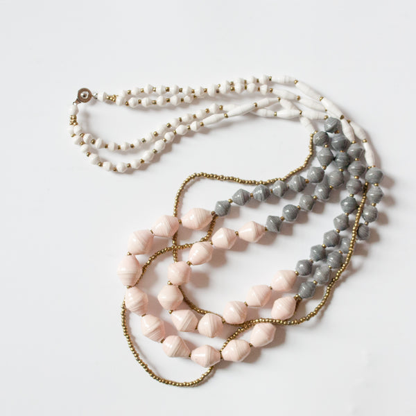Grey Blush and White Necklace