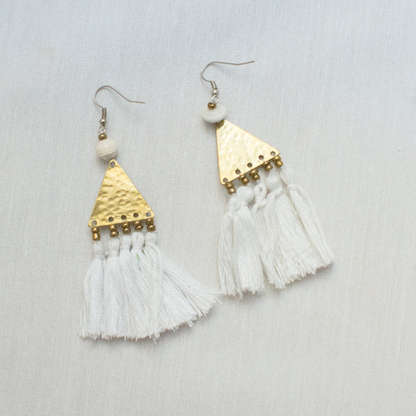 Brass and Tassel Earrings