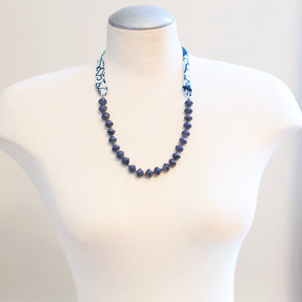 Fabric and Blue Paper Bead Necklace