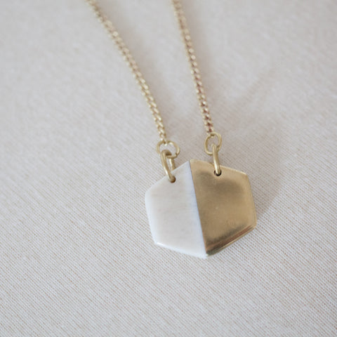 Brass and White Bone Hexagon Necklace