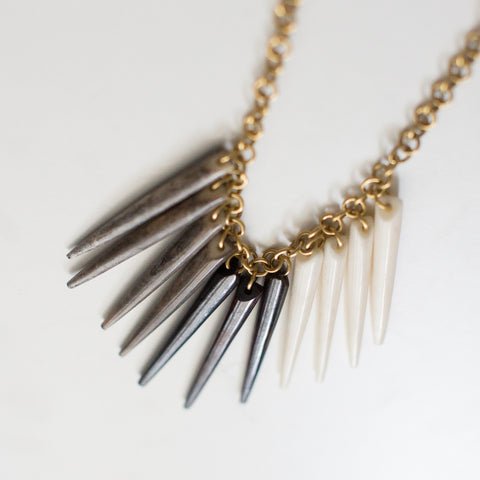Grey, White, Brown Fringe Necklace