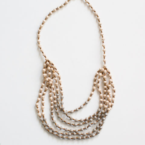 Layered Cream and Grey Necklace