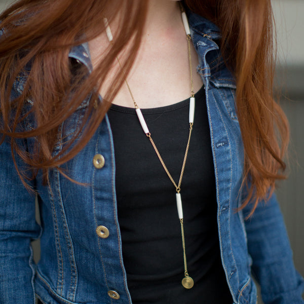 White Bone + Brass Swirl Necklace