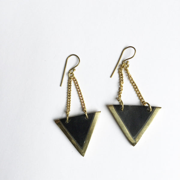 Black Brass Triangle Earrings
