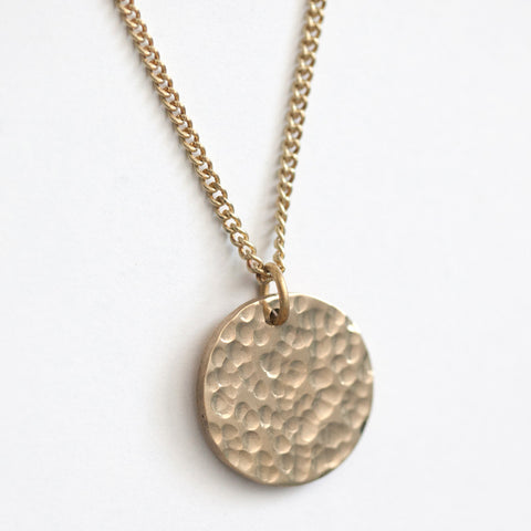 Medium Hammered Brass Medallion Necklace