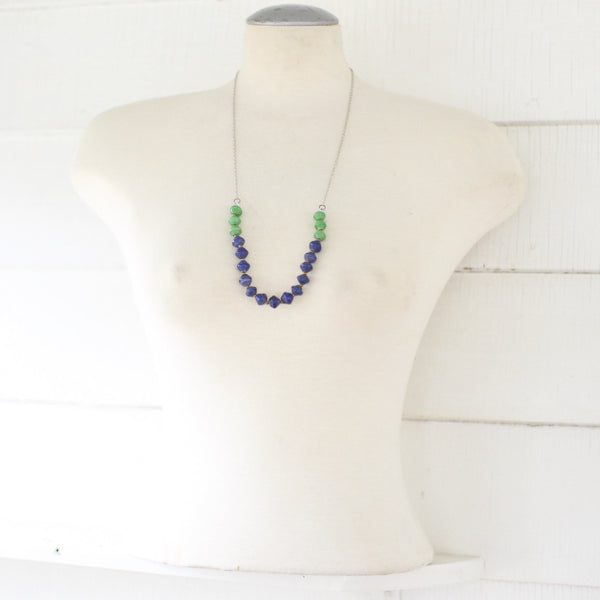 Blue and green Paper beads on a chain necklace
