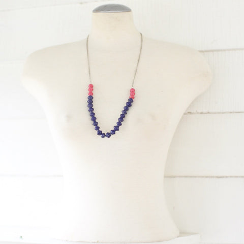 Blue and pink Paper beads on a chain necklace