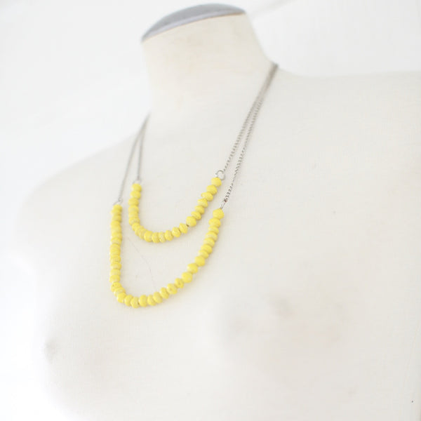 Yellow Paper beads on a chain necklace