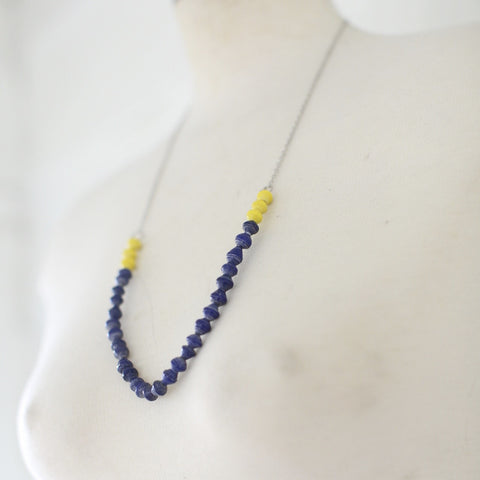 Blue and yellow Paper beads on a chain necklace