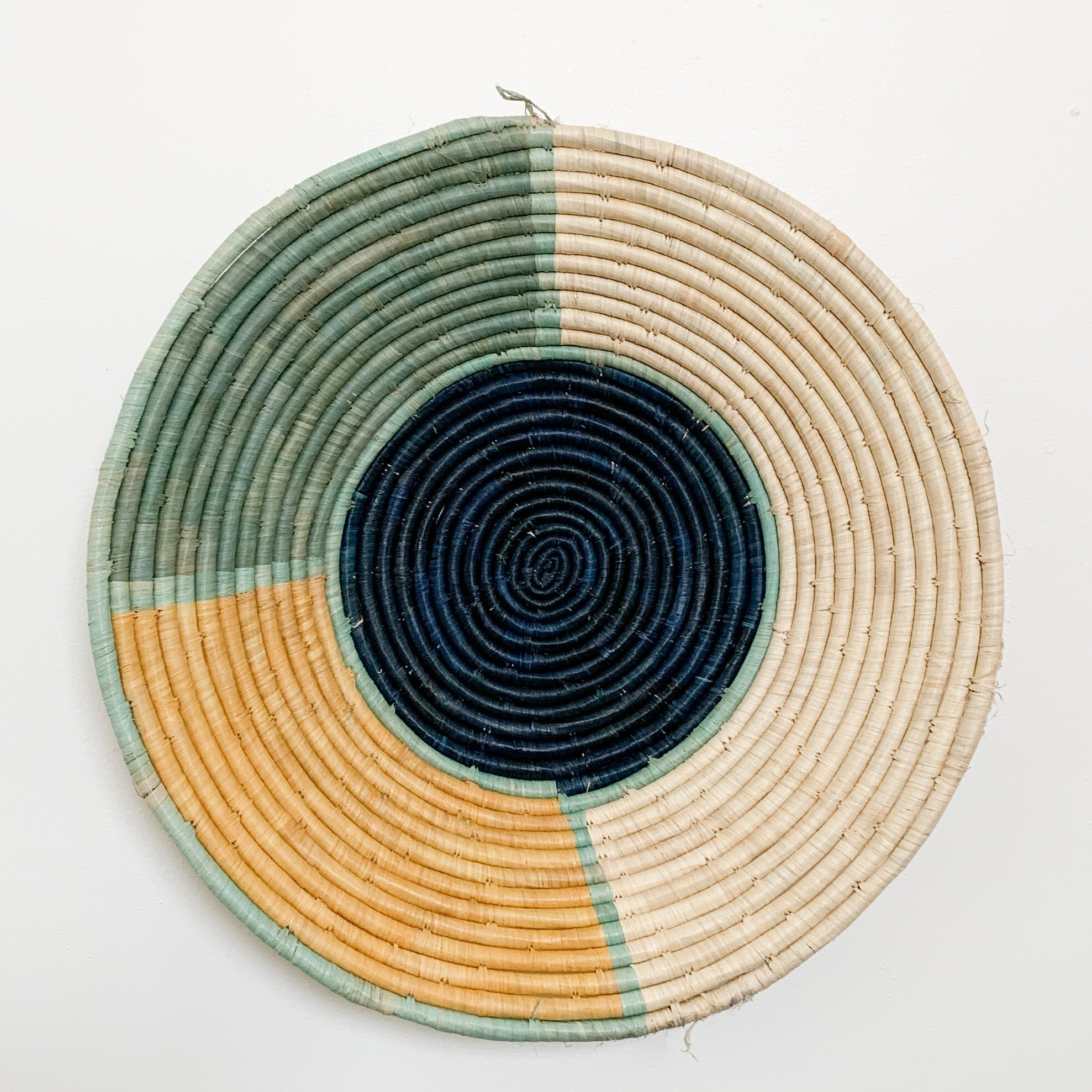 "20"" Yellow, Mint and Navy Round Basket"