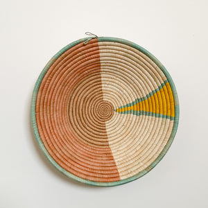 "18"" Peach, Yellow and Mint Round Basket"