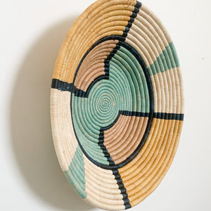 "18"" Yellow, Mint, Peach and Navy Round Basket"