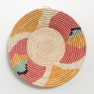 "16"" Yellow, Mint, Peach and Navy Round Basket"
