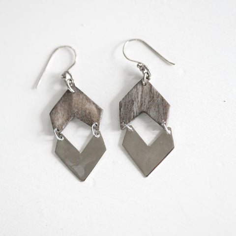 Grey and Silver Chevron Earrings