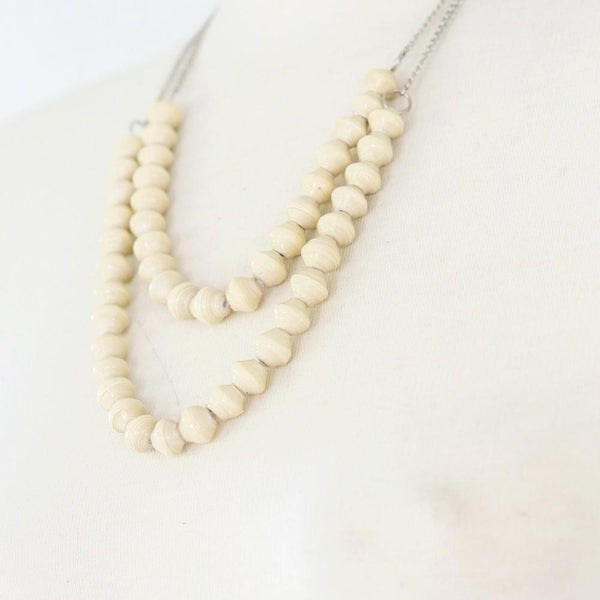 Cream Paper Beads on Silver Chain