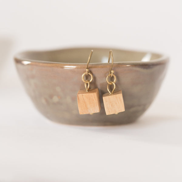 Wood Cube Earrings