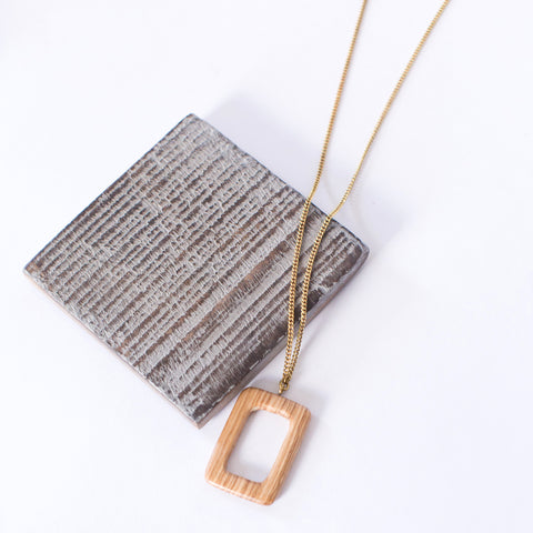 Long Wood Rectangle Necklace