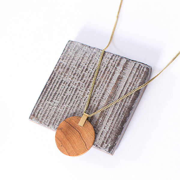 Long Circle Wood Necklace