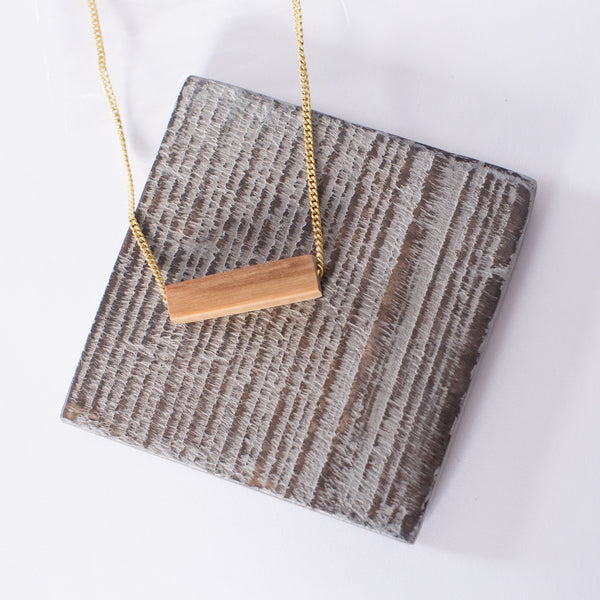 Short Wood Bar Necklace