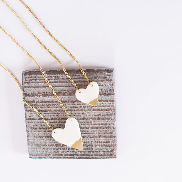 White and Brass Heart Necklace
