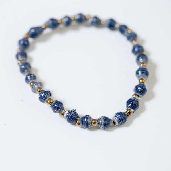 Navy Single Strand Paper Bead Bracelet