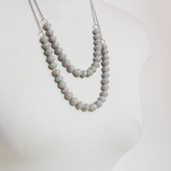 Grey Paper Beads on Silver Chain