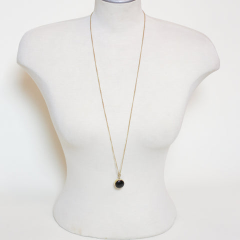 Long Black Circle Necklace