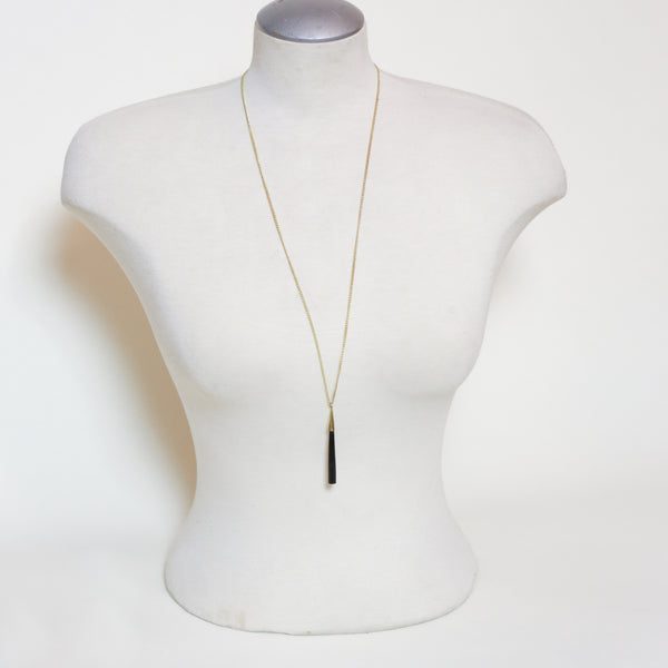 Long Black Pendant Necklace