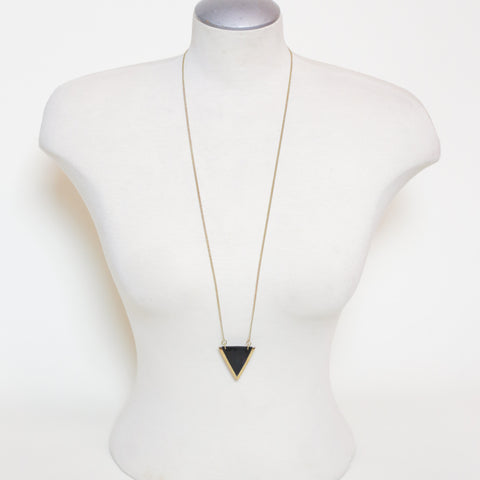 Long Black Triangle Necklace