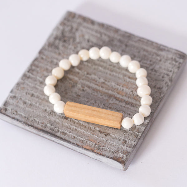 White Bone and Wood Bracelet