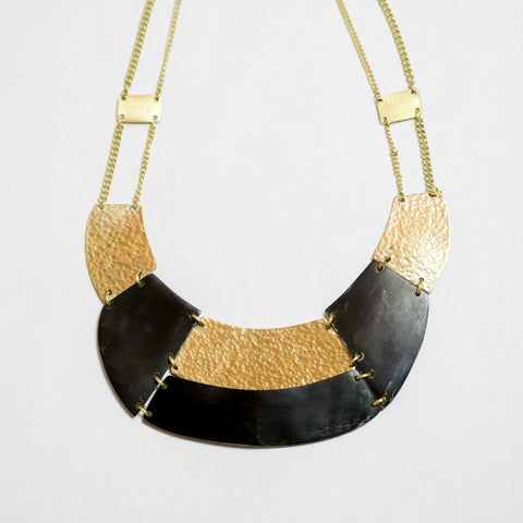 Brass and Black Statement Necklace