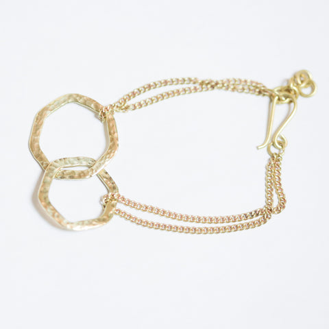 Brass Linking Hexagon Bracelet