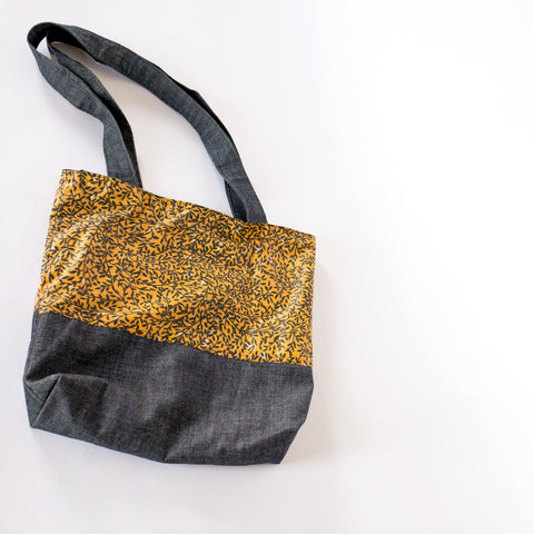Denim and Fabric Tote Bag